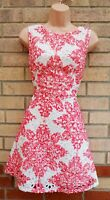QUIZ RED WHITE LACE BAROQUE SLEEVELESS A LINE SKATER PARTY PROM TEA DRESS 14 L