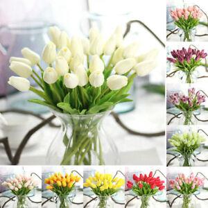 10PCS Tulip Rose Artificial Flower Latex Real  Wedding Bouquet Home Decor