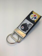 Mini Key Fob Made With Steelers Football Logo Ribbon