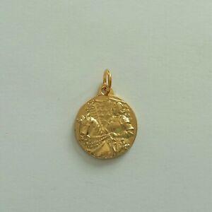 Religious Medal Médaille Sainte JEANNE d'ARC à Cheval en Métal coloris Doré