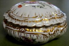 REDON Limoges china Dresden Motif Scalloped Dresser Box - chip on lid