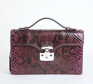 NEW Authentic GUCCI 'Lady Lock' Python Top Handle Bag Wine Purple 331823 5227
