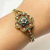 Vintage Diamond Sapphire 14k Gold Bangle Bracelet (9262)