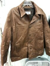 Men's Heavy Leather Car Coat Jacket XL Brown WILSONS M.Julian