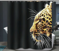 Leopard Big Cat Wild Animal Whiskers Fabric Shower Curtain 70x70 Black