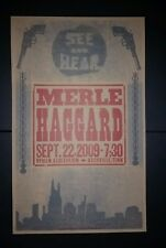 MERLE HAGGARD Ryman 2009 HATCH SHOW PRINT Nashville Tour Poster Hag Pistols Guns