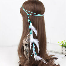Boho Hippie Indian White Feather Headband Hairband Carnival Headdress Bonfire
