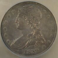 1839 Reeded Edge Capped Bust Half Dollar 50c ICG Certified AU50