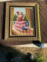 VINTAGE EMBROIDERY NEEDLEPOINT TAPESTRIES FRAMED ART DECO from EUROPE STUNNING