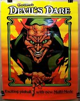 1980s promo advertising poster GOTTLIEB DEVIL'S DARE PINBALL GAME arcade satan