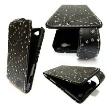 Case For Sony Xperia M Bling Glitter Black PU Leather Flip Pouch Phone Cover