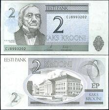 ESTONIA 2 KROONI 2007  UNCIRCULATED BANKNOTE p.85