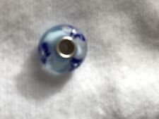 Authentic Trollbeads Murano Glass light Blue  flower Charm 61155 new