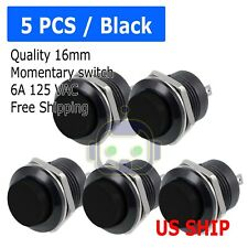 5 Pcs Black Normally Open 16mm Round Momentary 2 Pins Metal Push Button Switch