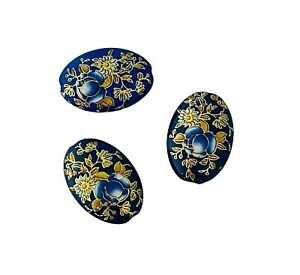 5 Japanese Tensha Blue Gold Rose 19x14mm Flat Oval Painted Acrylic Beads