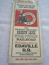 EDAVILLE RAILROAD 1972  theme park brochure   Carver MA