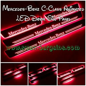 4x RED Mercedes-Benz C-class W204 W205 Animated Moving LED Car Door Scuff Plates