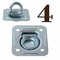 FOUR Recessed D Rings, Galvanized Steel Cargo Tie-Down Anchors, Bolt-on, Large