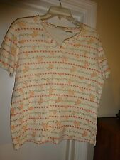 CLASSIC ELEMENTS Ladies SIze PM Cream with Peach Flowers Short Sleeve Top Blouse