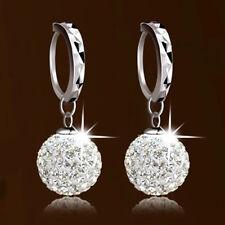 HOT Vintage White Gold plate Crystal Rhinestone Hoop Earrings Womens