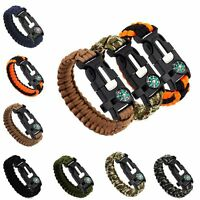 Paracord Survival Bracelet Compass Flint Fire Starter Scraper Whistle Gear Kits