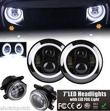 "7"" Round LED Halo Headlight+4"" 30W LED Fog Light DRL 2007-2016 Jeep Wrangler JK"
