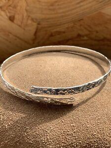 Sterling silver 925 Adjustable Wrap Bangle, hammered Texture, One Size Bracelet