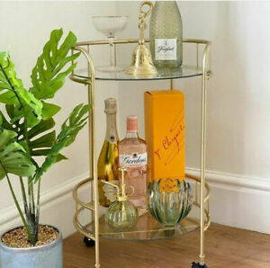 Stylish Drinks Trolley in Gold 2 Tier Glass Shelves on Wheels Art Deco Style NEW
