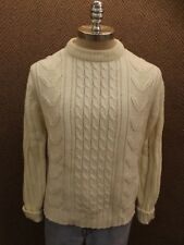 Sporty Vtg 1960s Sears White Soft Acrylic Cable Knit Fisher Aran Sweater Mens Xl