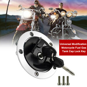 Universal Modification Motorcycle Iron Fuel Gas Tank Cap Lock Durable With 2 Key