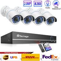 8CH 48V 1080P HD IR POE NVR 4Pcs 2.0MP Outdoor IP Camera Security CCTV System