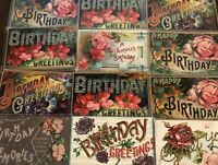 """~12 Large Letter BIRTHDAY~""""Happy Birthday"""" Antique Greetings Postcards Lot--b332"""