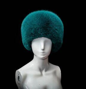 Emerald Green Fox Fur Ladies Fancy Beanie Beret Bubble Style Hat