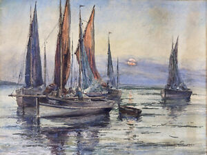 Tableau Jacques DEBUT (XIXe-XXe) Aquarelle Bateaux En Mer Bretagne ? Circa 1900