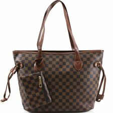 Ladies Women Brown 3425 Shopper Check Print Handbag Shoulder Tote Cross Body Bag