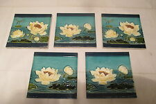 5 original JUGENDSTIL Fliesen -Kacheln mit Seeerosen Libelle  Wandfries