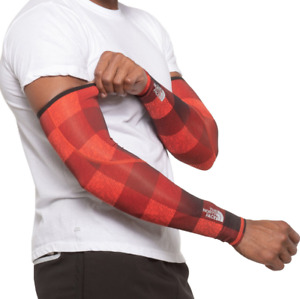NEW! North Face No Hand Arm Warmers - Red /Plaid Blue Mix Color Mens L-XL