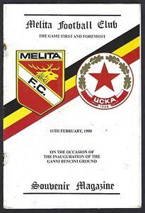 Malta Football Programme Melita v CSKA Sofia Sredetz Bulgaria Friendly Match '90