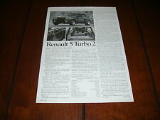 1984 RENAULT 5 TURBOCHARGED  ***ORIGINAL ARTICLE***