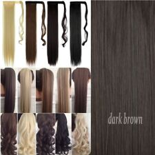 """UK Extra Long 18-26"""" Thick Wrap Clip in Ponytail Hair Extensions Brown Blonde lc"""