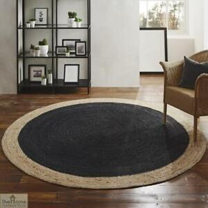 Rug Round Natural jute Reversible Handmade Modern living Area carpet decor rugs