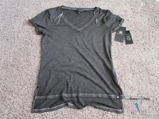 Rock & Republic Womens Gray Crocking Burnout V-Neck T-Shirt Medim M New NWT