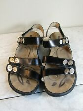Romika Black Leather Wedge Heel Slingback Strappy Shoes Women's Size EU 37
