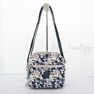NWT Kipling HB6468 Keefe Shoulder Bag Double Zip Nylon Flower Art Beige Multi 94