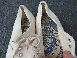 Vtg NOS 1960s Converse Comfort Cushion Blue Label USA Made Canvas Shoes 12 Deck