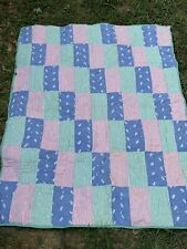 Vintage Handmade Quilt For Baby Crib 40 X 51 Rectangle Blocks Blue, Red, Green