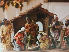 Hand Painted nativity Scene Set 9 Pc Members Mark New In Box!