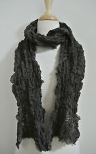 EILEEN FISHER Ruched wool blend scarf brown shirred gathered