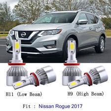 4pcs H11+H9 LED Headlight Kit Light Bulb For Nissan Rogue 2017 Hi/Low Beam