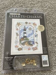 dimensions chart and charms 72500 Lighthouse Charm. Finished size 11x14 inches